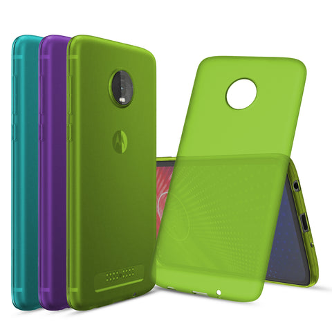 [3-Pack] Flex-Gel Silicone TPU Case for Motorola Moto Z4 (Purple, Turquoise, Green)