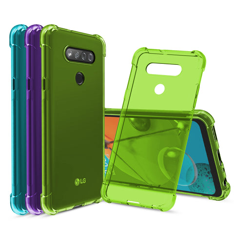 [3-Pack] Flex-Gel Silicone TPU Case for LG K51 & LG Reflect (Purple, Turquoise, Green)