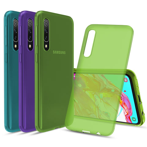 [3-Pack] Flex-Gel Silicone TPU Case forSamsung Galaxy A70 (Purple, Turquoise, Green)