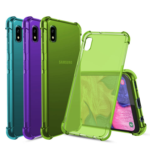 [3-Pack] Flex-Gel Silicone TPU Case forSamsung Galaxy A10e (Purple, Turquoise, Green)