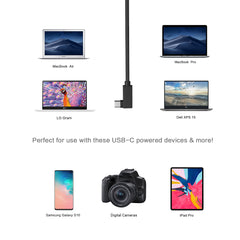 10ft 100W Braided Right Angle USB-C Cable (USB 3.2 Gen 2)