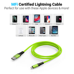 Limebrite 10ft Double Braided Nylon Apple MFi Certified USB Charging Cable (Green)
