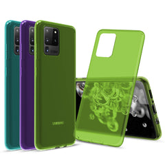 [3-Pack] Flex-Gel Silicone TPU Case for Samsung Galaxy S20 Ultra (Purple, Turquoise, Green)