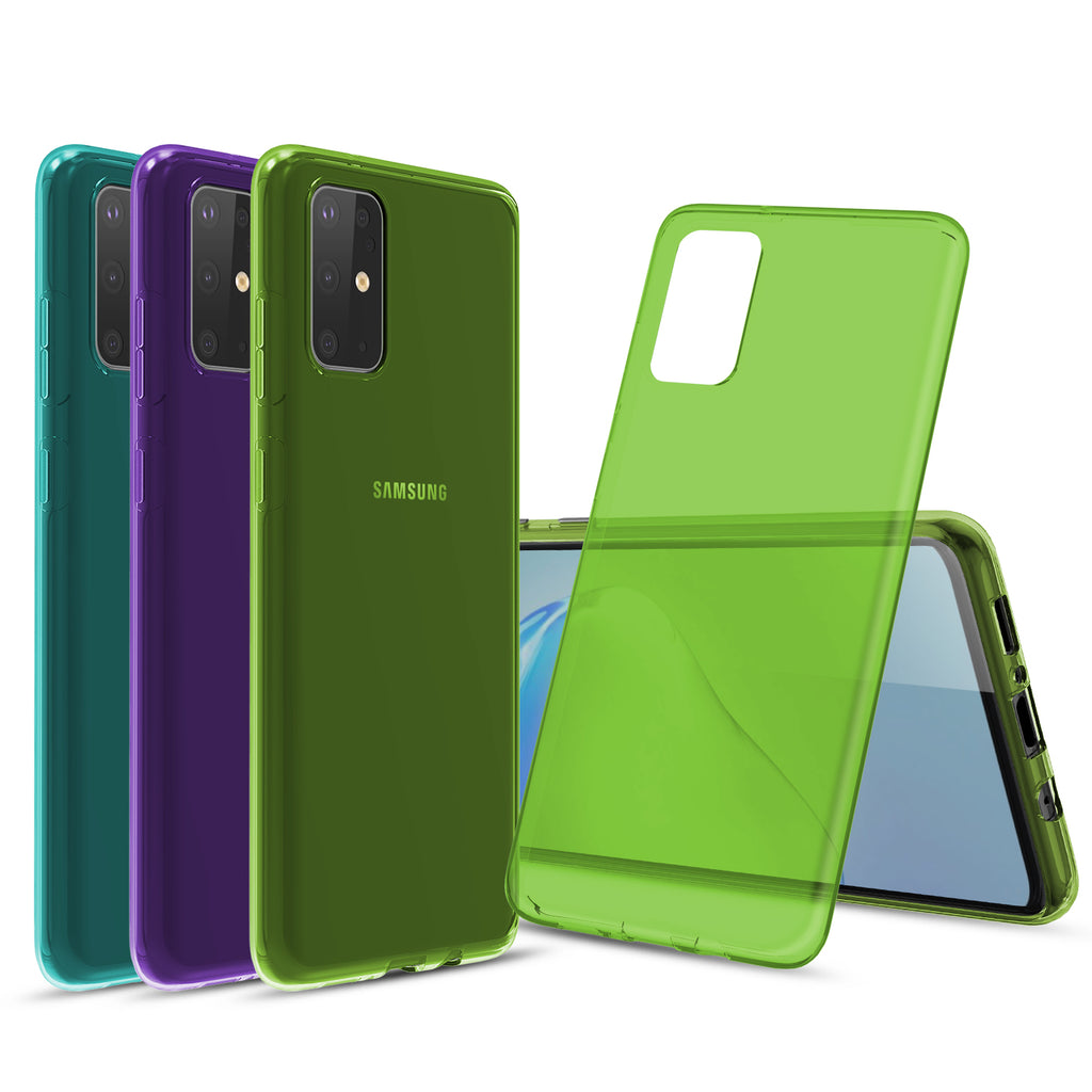 [3-Pack] Flex-Gel Silicone TPU Case for Samsung Galaxy S20 Plus (Purple, Turquoise, Green)