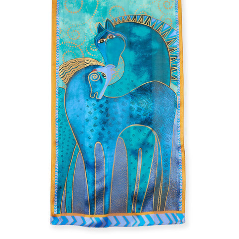 Teal Mares Silk Scarf