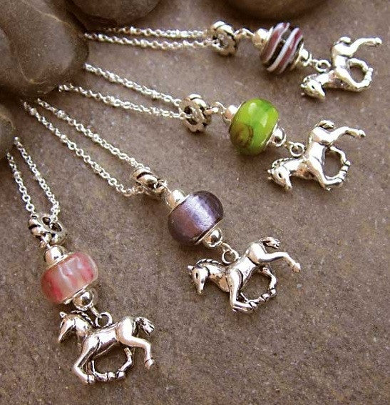 Glass Bead Necklace with Horse Charm