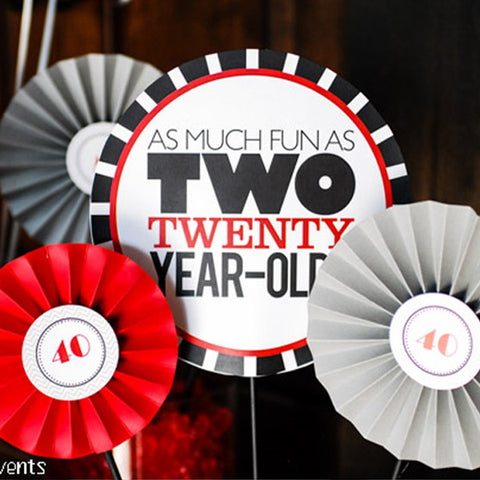 "printable THE BIG O 30, 40, 50, 60.... 8"" centerpieces (As much fun as two 20 year olds)"
