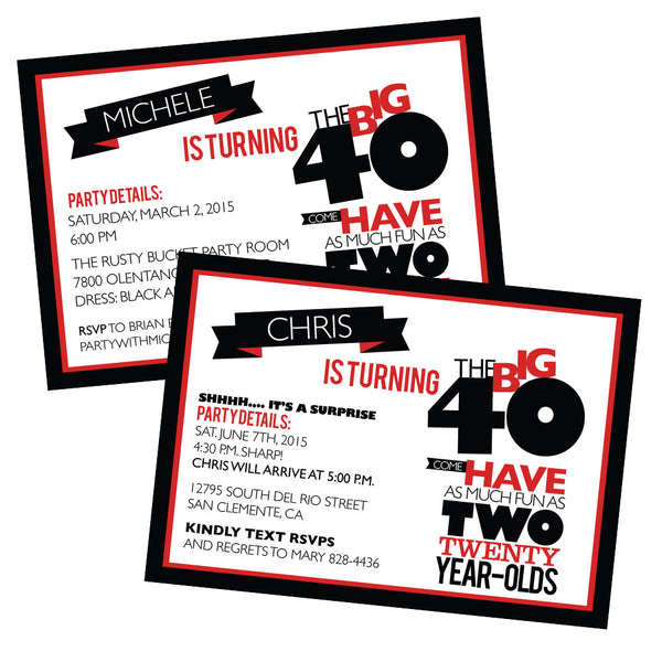 Printable THE BIG O 30 40 50 60 BIRTHDAY Invitation As Much Fu Wants And Wishes