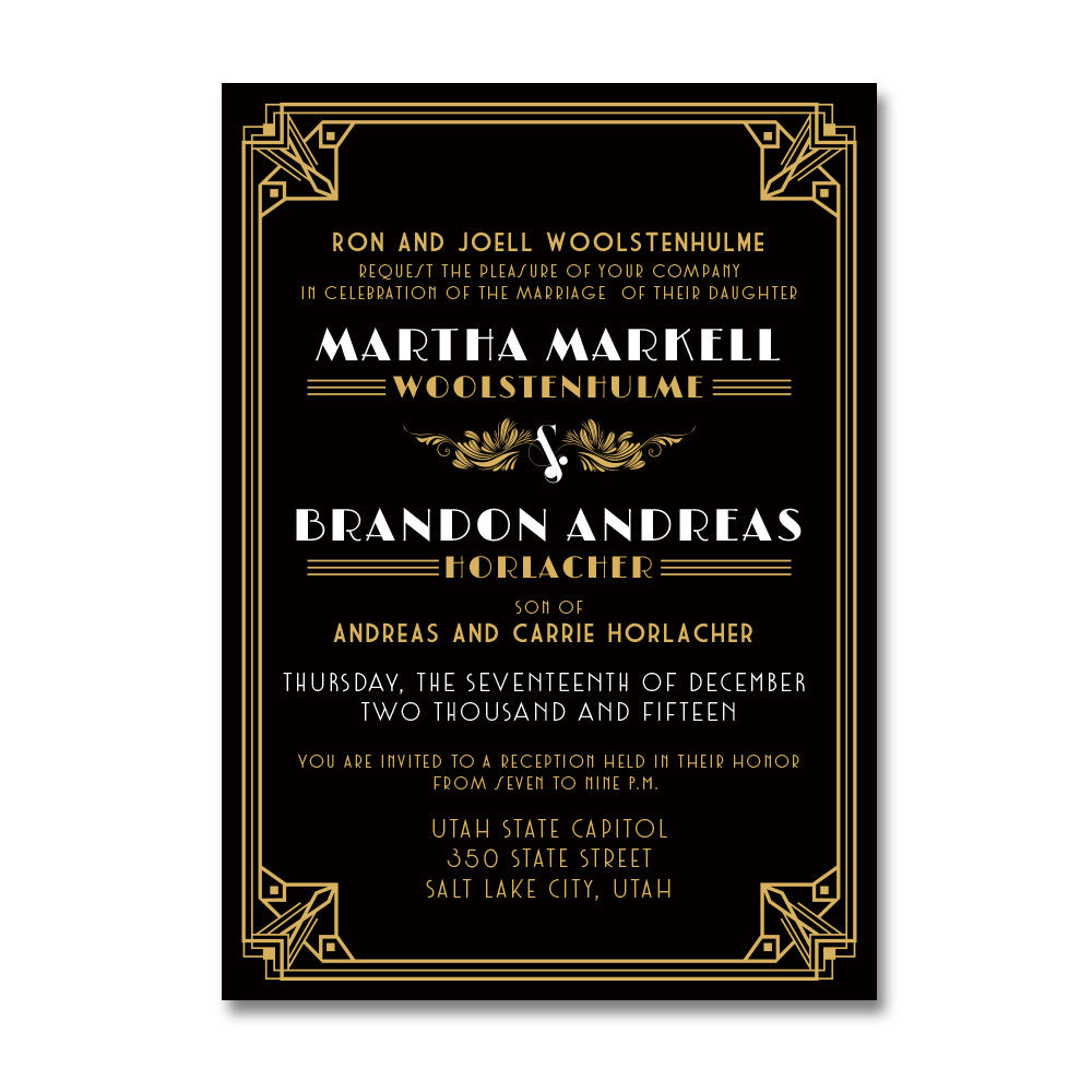 Art Deco Wedding Invitations Wants and Wishes