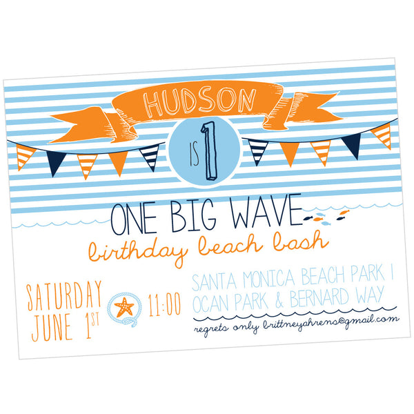 One Big Wave Beach printable Invitation