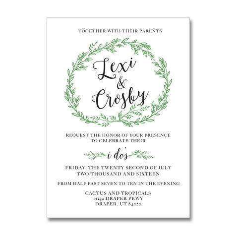 Blissful Wreath Wedding Invitations