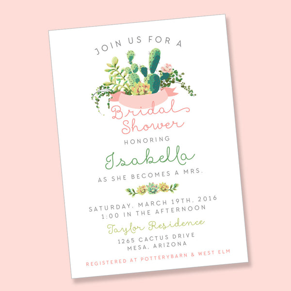 Cactus Bridal Shower- printable invitation
