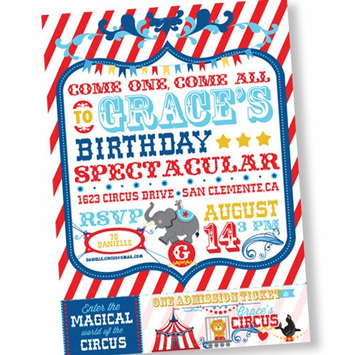 Circus/ Carnival Birthday Spectacular printable Invitation