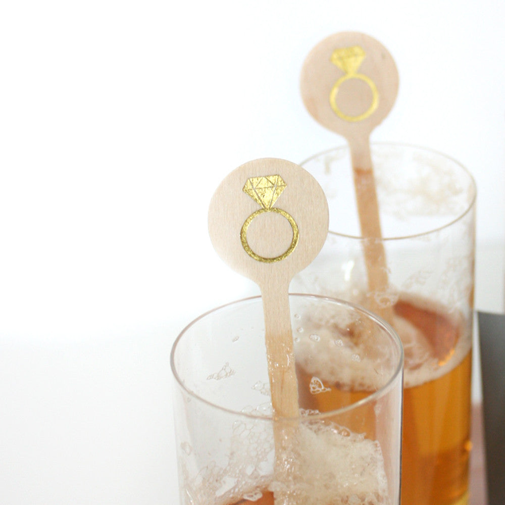 Diamond Ring Bridal Shower Stir Sticks