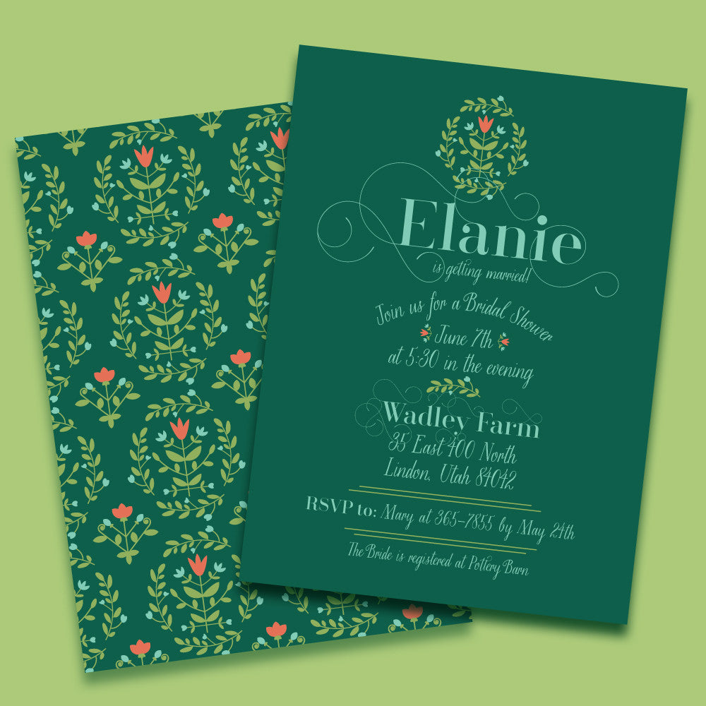 Modern Classic Garden Bridal Shower- printable invitation
