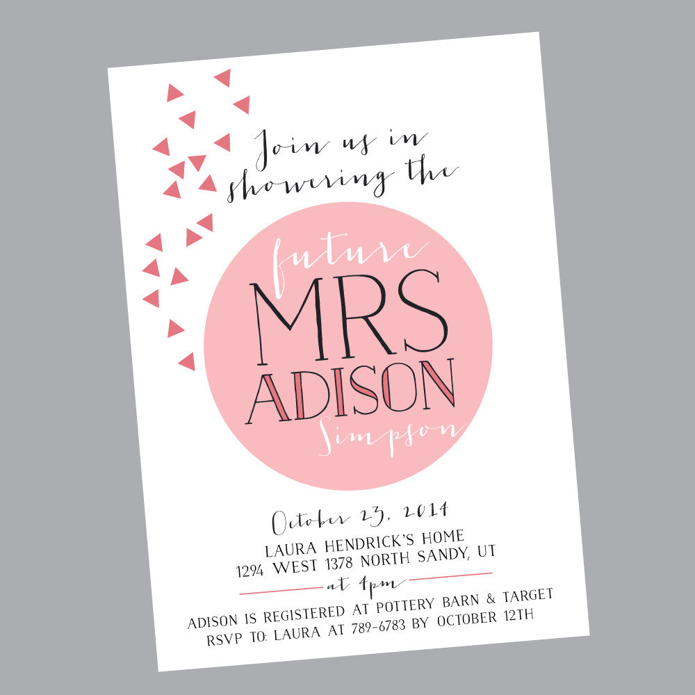 Modern Confetti Bridal Shower- printable invitation