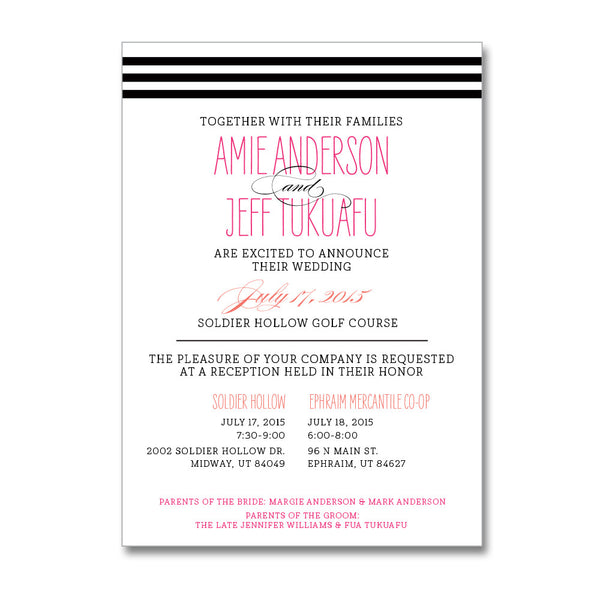 Modern Stripe Wedding Invitations