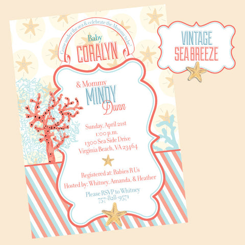 printable sophisticated Sea Breeze Beach Baby Shower invitation by Wants and Wishes