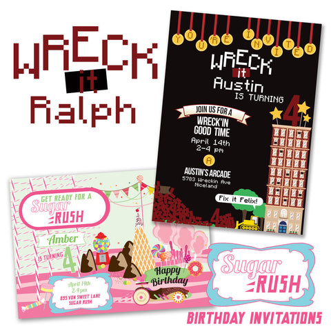 Wreck it Ralph & Sugar Rush Inspired printable Birthday Invitations