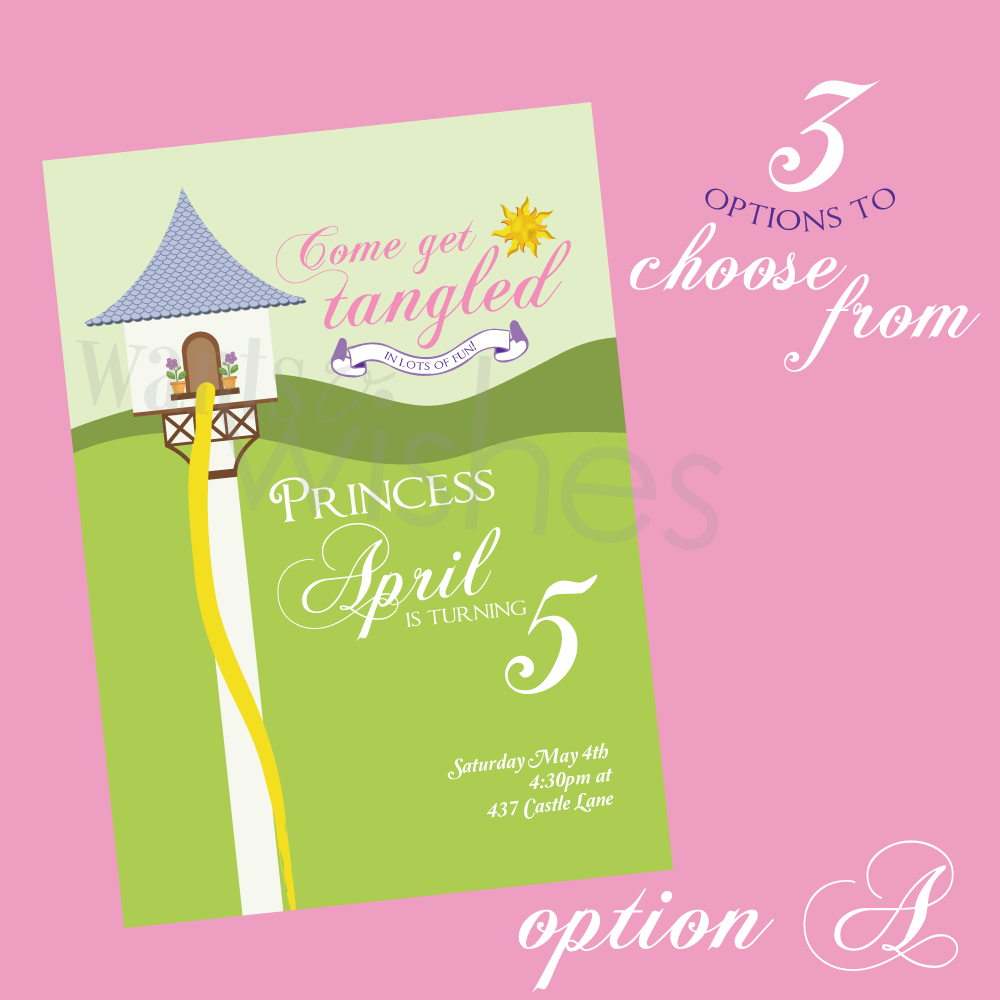 Printable Rapunzel Tangled/Princess Invitation- 3 options