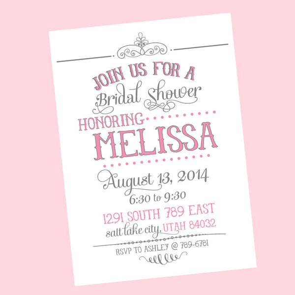 Vintage Love Bridal Shower- printable invitation