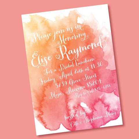 Watercolor Bridal Shower- printable invitation