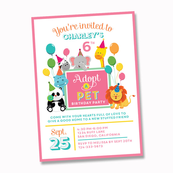 Pet Adoption - Adopt a pet printable birthday party Invitation