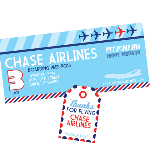 Airplane ticket Invitation & baggage claim Thank you card/tag printables by Wants and Wishes