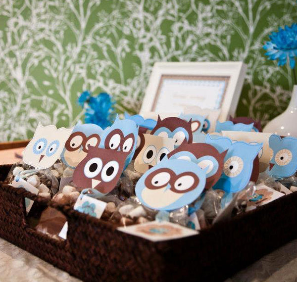 printable Owl Favor Toppers- Baby Blue Baby Shower Collection