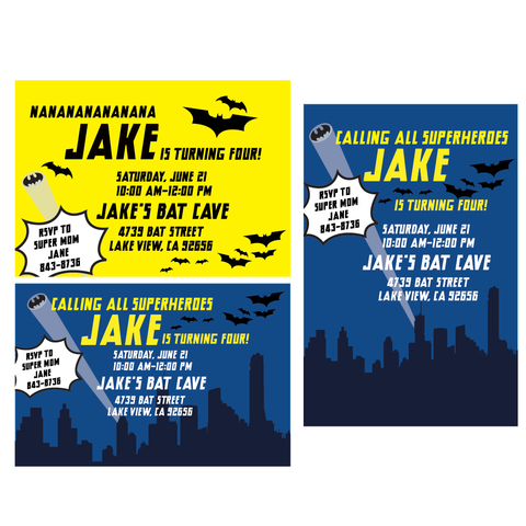 Batman printable Invitation - 3 OPTIONS- by Wants and Wishes