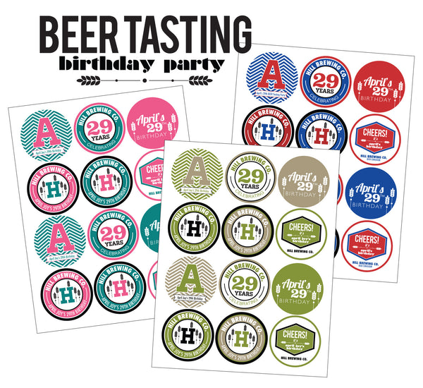 Modern Beer Tasting Party printable Collection- 3 colors available!