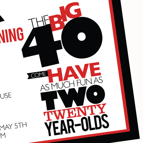 printable THE BIG O 30, 40, 50, 60.... BIRTHDAY invitation (As much fun as two 20 year olds)