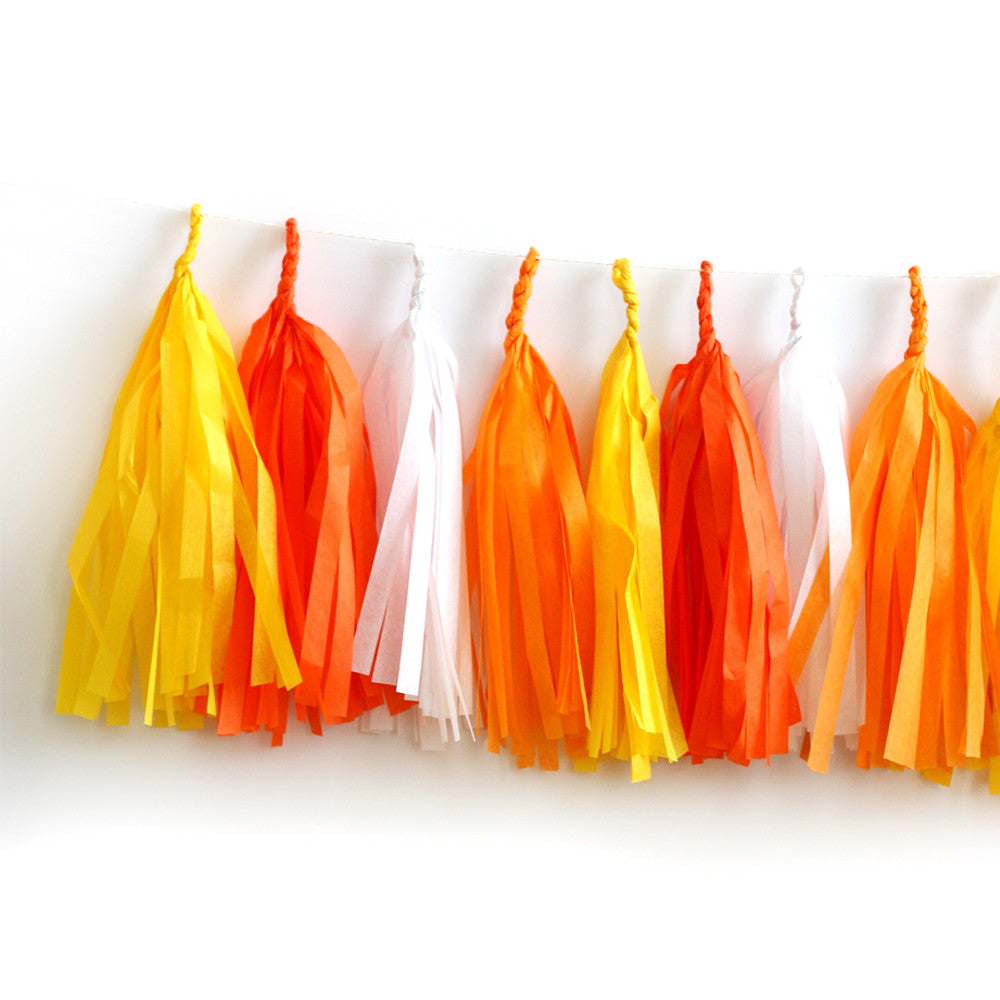 Candy Corn Halloween Fringe Tassel Garland Kit or Fully Assembled