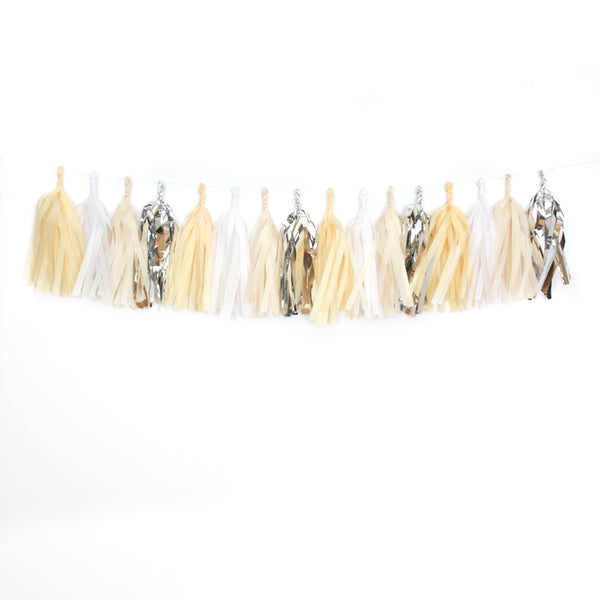 Creme Brulee Fringe Tissue Tassel Garland Kit or Fully Assembled