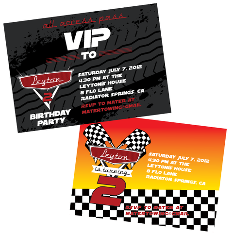 Disney Inspired Cars 2 printable Invitation