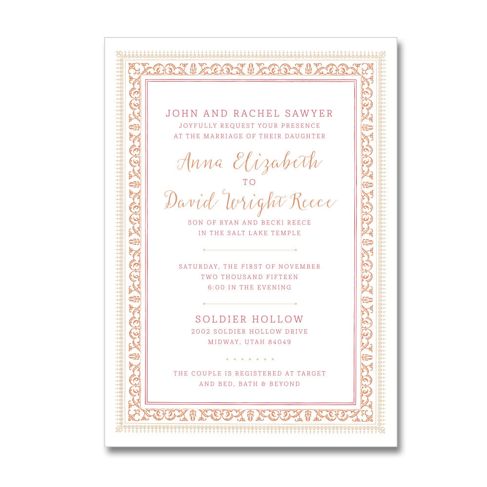 Elegant Border Wedding Invitations