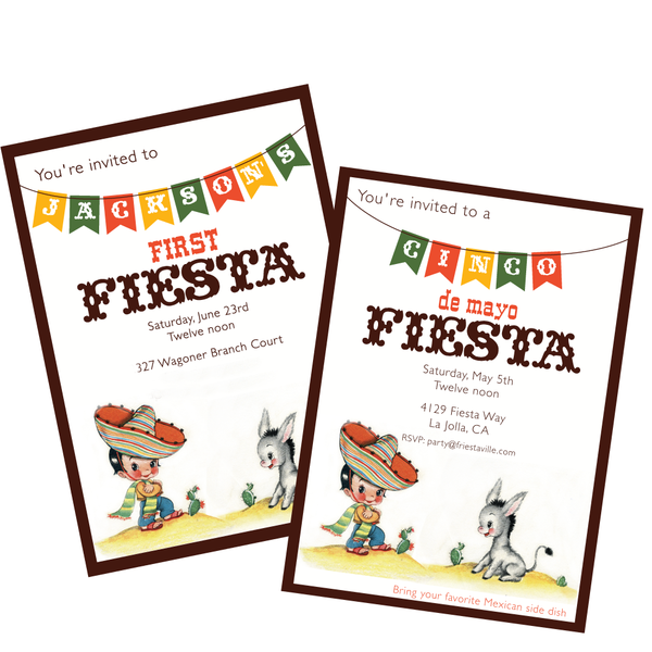 Vintage Cinco de Mayo or Birthday Fiesta printable Invitation by Wants and Wishes