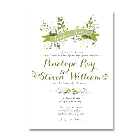 Floral Ribbon Wedding Invitations