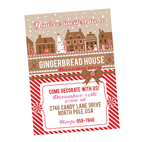 Gingerbread House Decorating Party printable Invitation