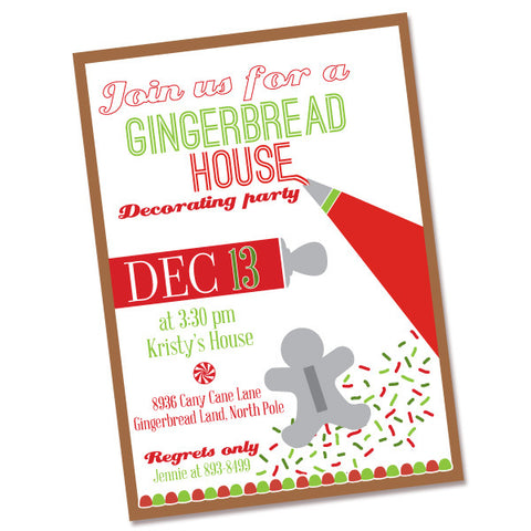 Gingerbread Decorating Party printable invite