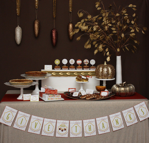 Glitzy Thanksgiving printable party collection