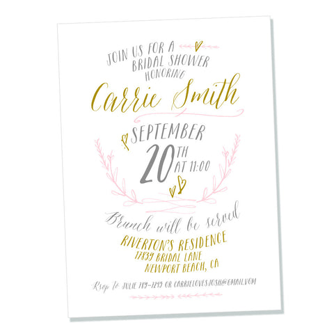 In Love Calligraphy Bridal Shower- printable invitation