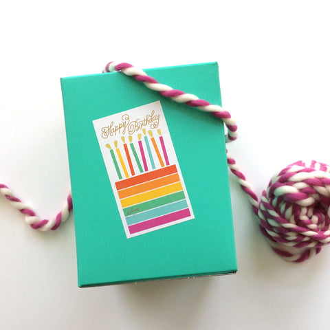 Birthday Cake Sticker tag with gold foil