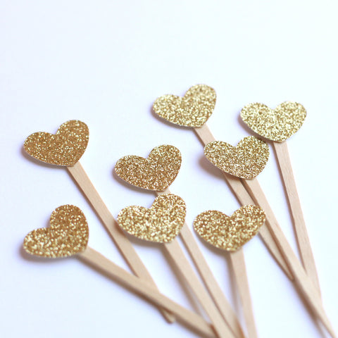 Mini Gold Heart cupcake toppers