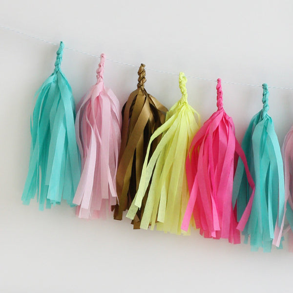 Gilded Neon Fringe Tassel Garland Kit or Fully Assembled
