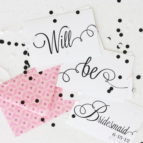 printable Will you be my Bridesmaid cards (creative bunting bridesmaid invite)