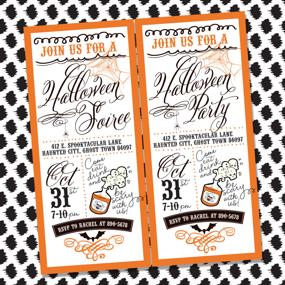 picture relating to Halloween Invitation Printable titled Typical Retro printable Halloween invitation