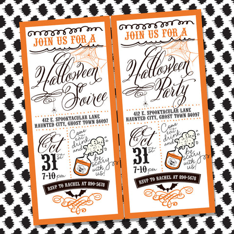 Vintage Retro printable Halloween invitation