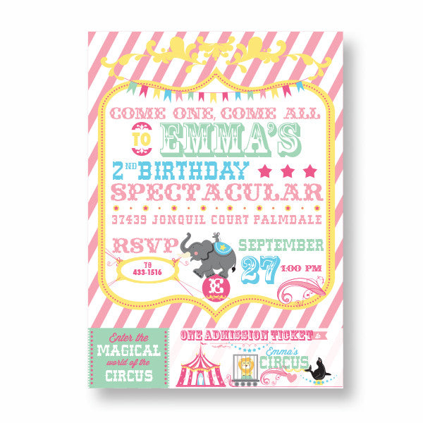 Cotton Candy Circus printable invitation