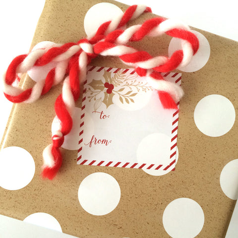 Kraft Holly Christmas Sticker tag
